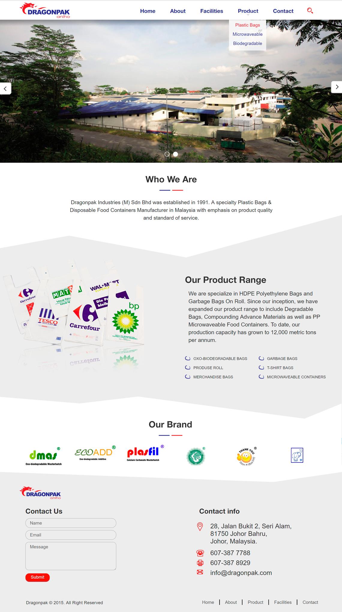 Website development for a manufacturer of plastic bags — dragonpak.com
