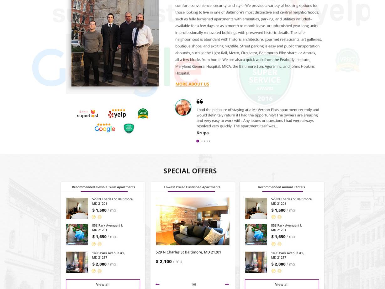 Website design for Mount Vernon Flats