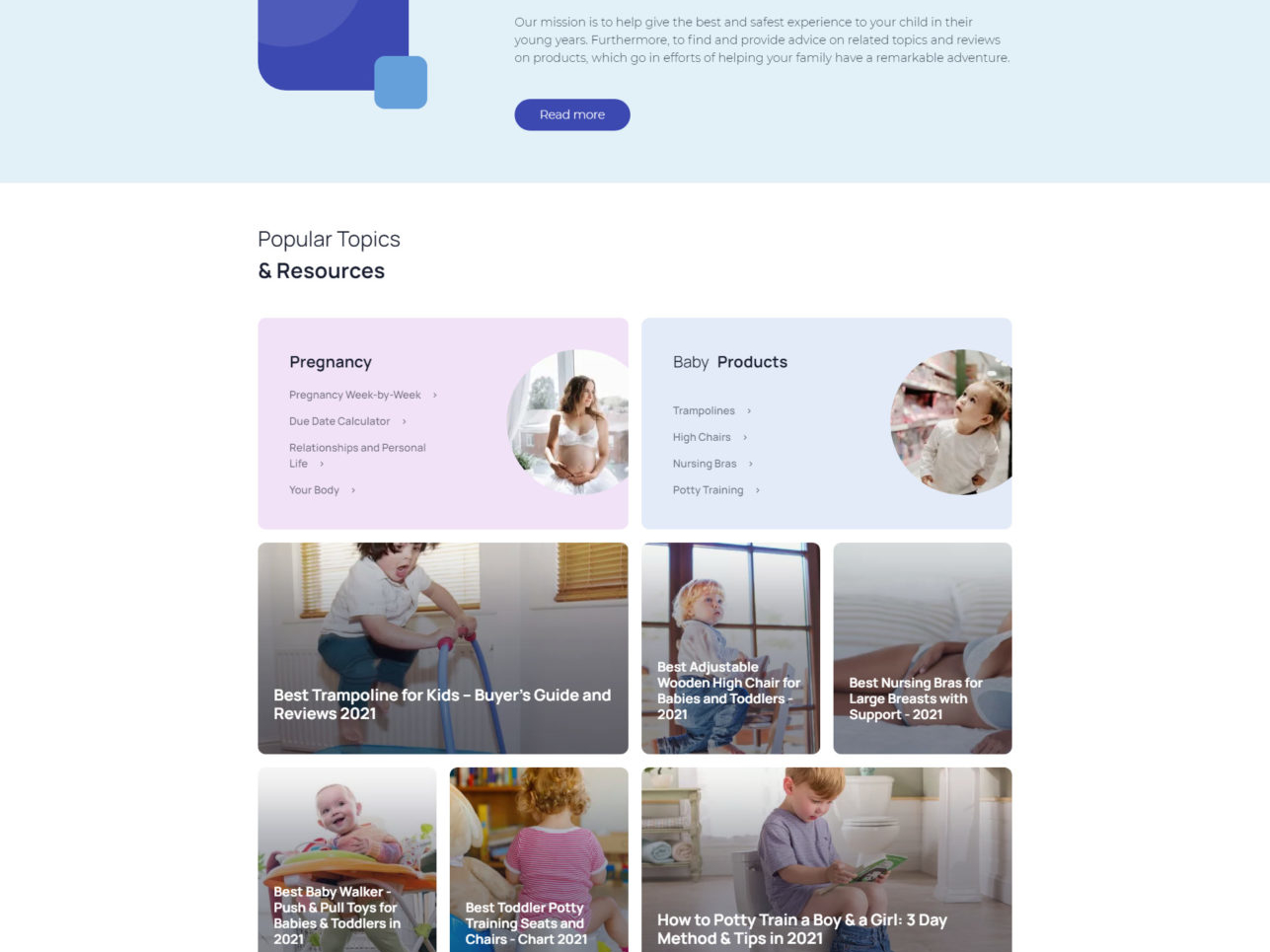 Website developed for Certified Experts who Introduce You to Pregnancy and Parenting Advice